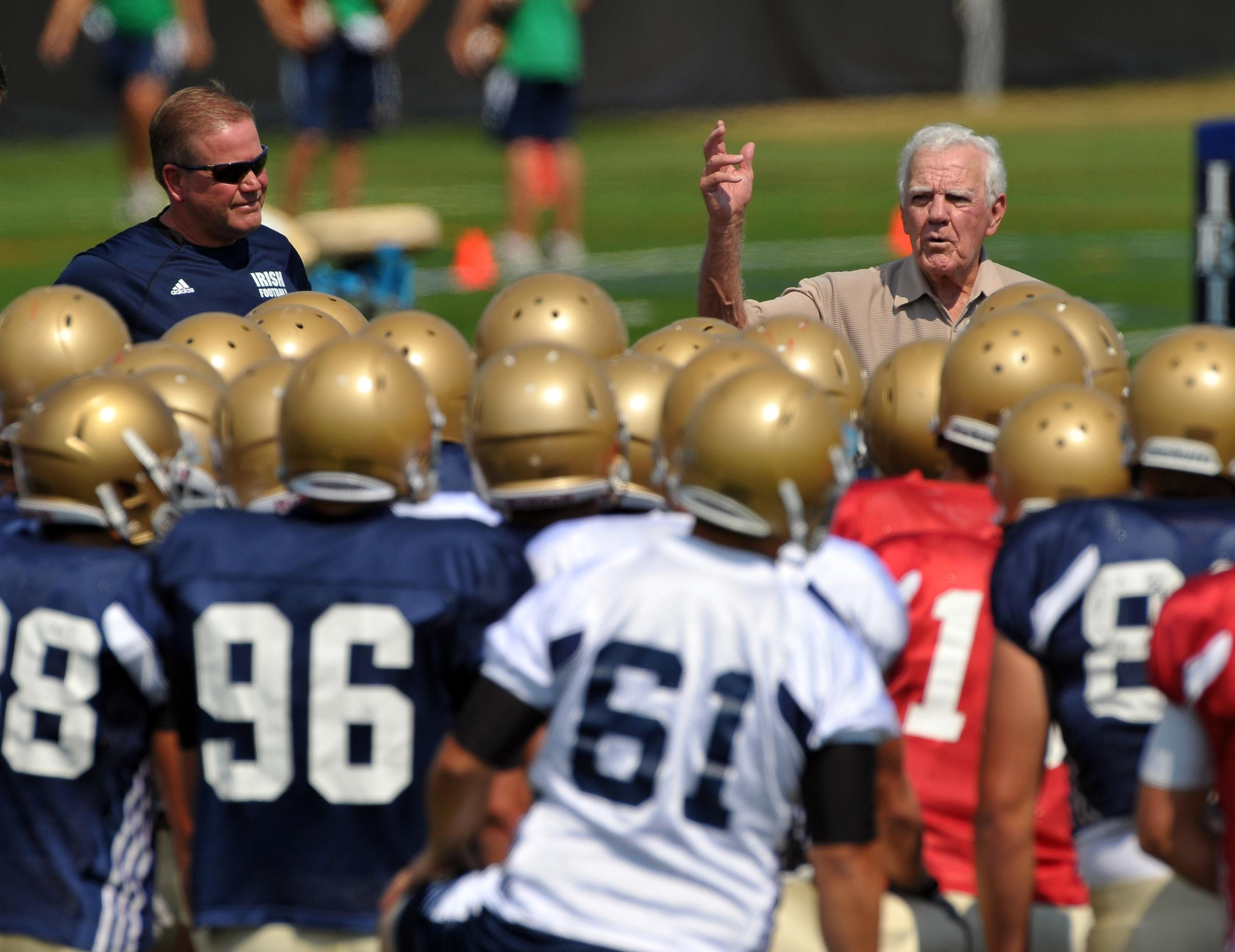 Notre Dame head football coach Brian Kelly and former head football coach Ara Parseghian at Practice at the LaBar Practice Complex August 19, 2010 / Photo by Matt Cashore