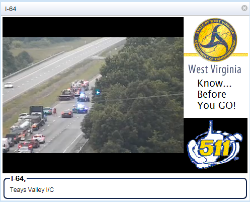 West Virginia 511 photo shows the crash scene on Interstate 64 West in Teays Valley. (West Virginia 511)