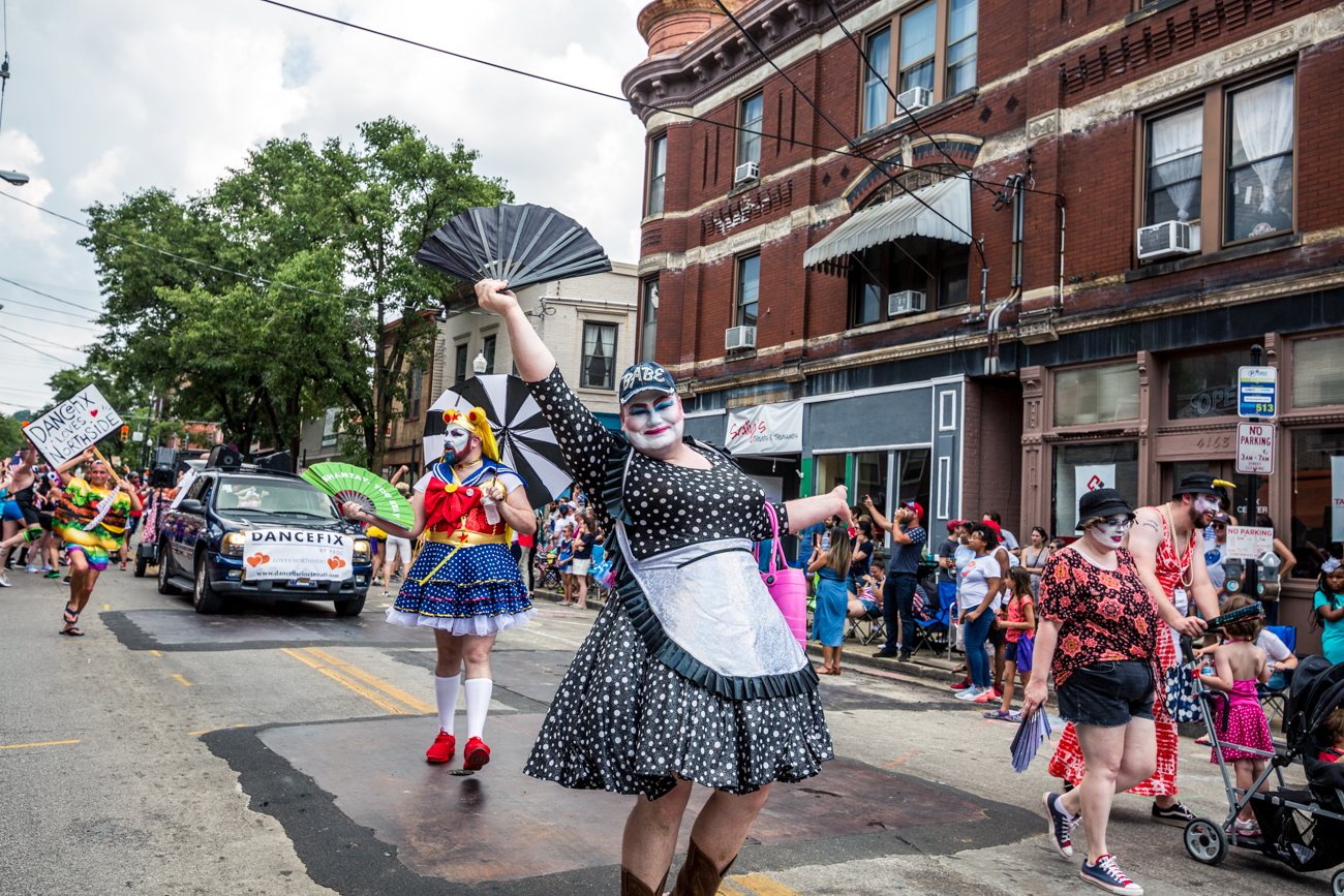 Paraders gleefully march down Hamilton Avenue in Northside during the annual July 4th parade. / Image: Catie Viox<p></p>