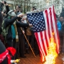 Veteran posts tearful video response to flag burning at anti-Trump protest