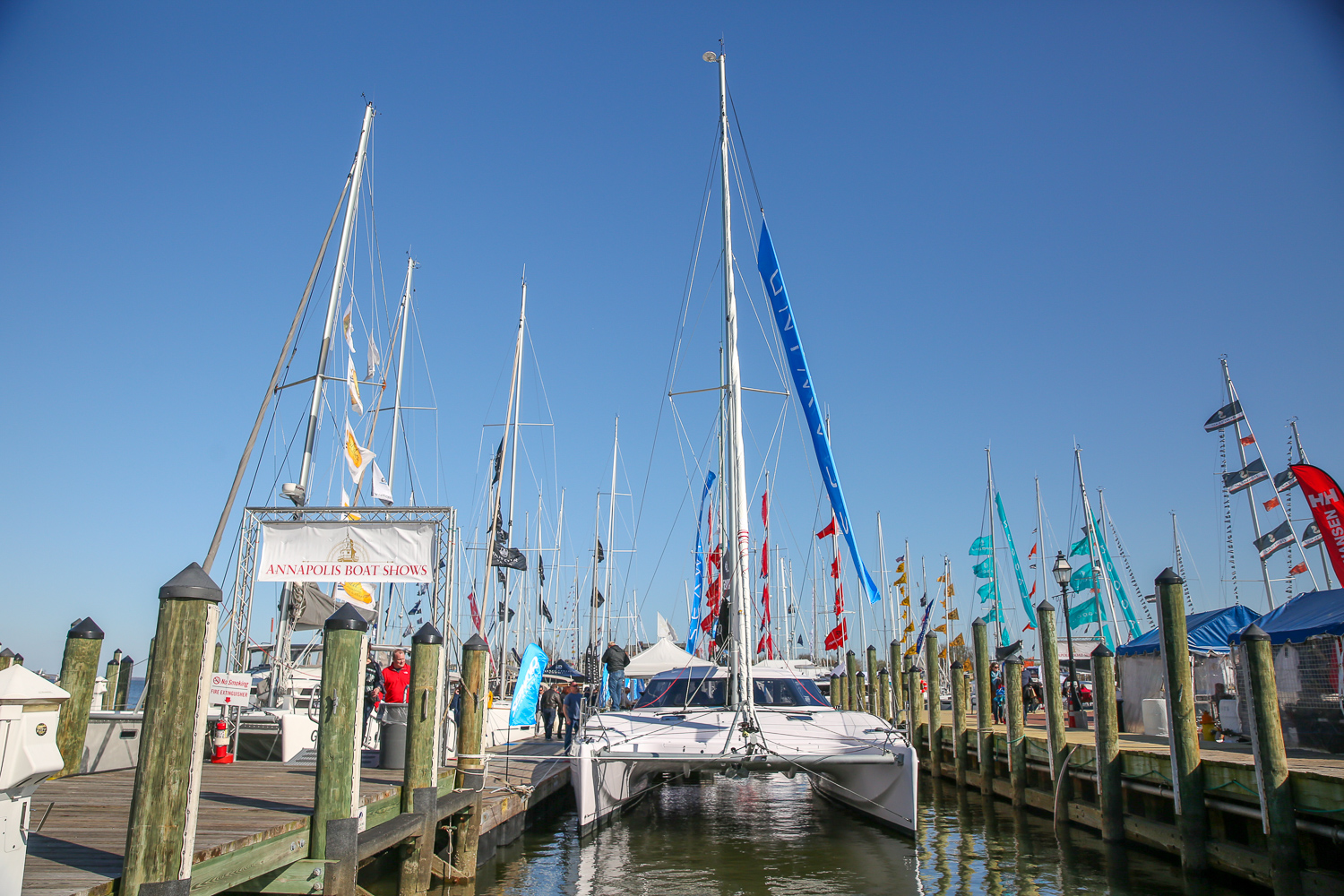 The Annapolis harbor is looking pretty full for their annual spring boat show. The exhibition gives visitors the chance to check out yachts and sailing boats. Although many of the boats are for sale, even those of us who can't exactly afford a luxury yacht can enjoy walking the decks. The show opens April 20 and will run through the weekend.{ } (Amanda Andrade-Rhoades/DC Refined)