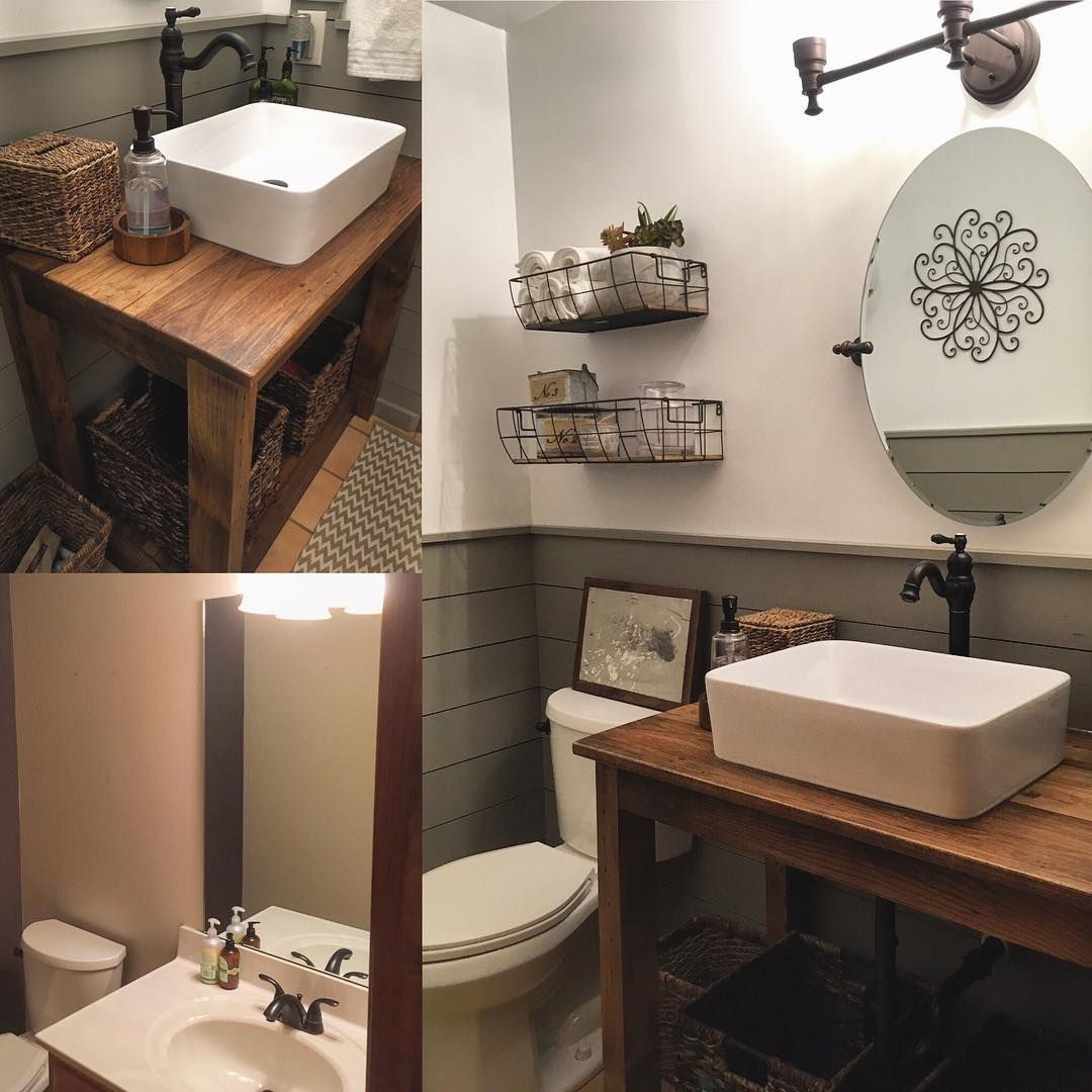 Lower left: a bathroom before. Upper left & right: the bathroom after / Image courtesy of Ohio Valley Reclaimed // Published: 8.24.17