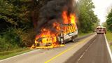 Limousine bus stalls, catches fire near South Haven
