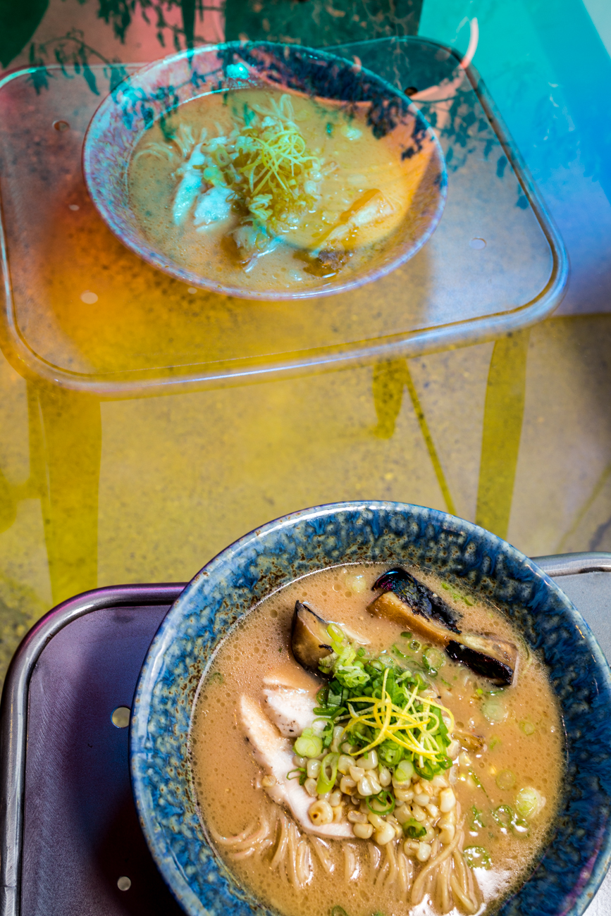 Summer Miso Ramen: chicken chashu, charred corn, and roasted eggplant / Image: Catherine Viox // Published: 9.19.19