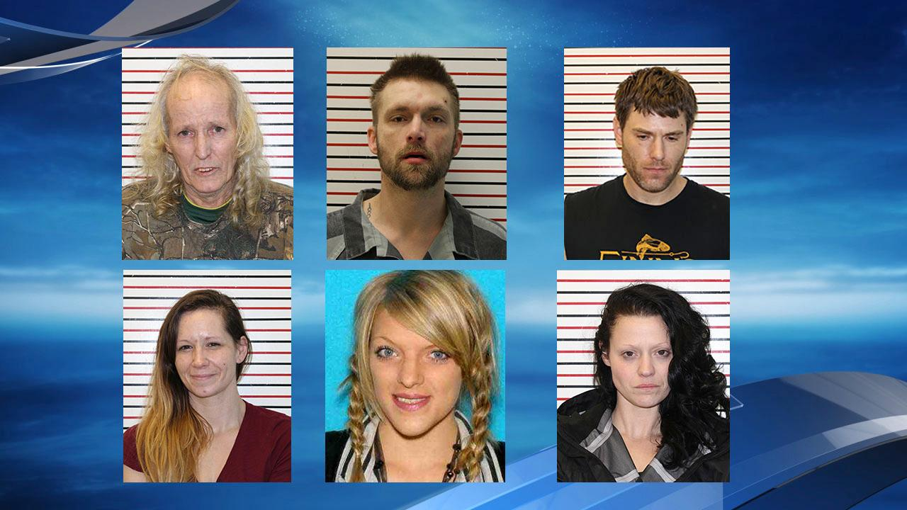 Left to right: Richard Leroy Baker, Jason Brian Pace, Emmitt Chandler Brewer, Kelly Jean Parker, Blair Dylana Hernandez and Sara Elizabeth Poirier (Photos courtesy Clatsop County Sheriff's Office<br><p></p>
