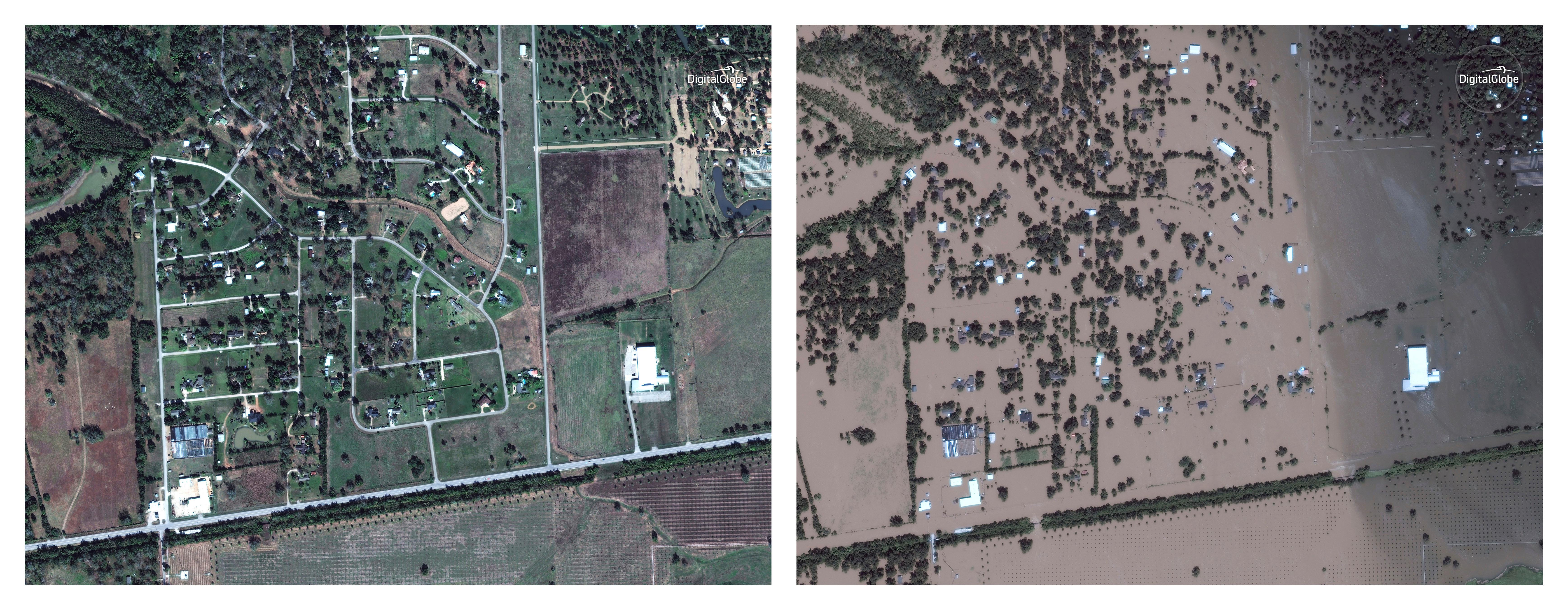 FILE - This combination of satellite images provided by DigitalGlobe shows Simonton, Texas, west of Houston, on Nov. 20, 2016 and Aug. 30, 2017. Hurricane Harvey made landfall at Rockport, Texas on Friday, Aug. 25, 2017. (DigitalGlobe via AP) ©2017 DigitalGlobe
