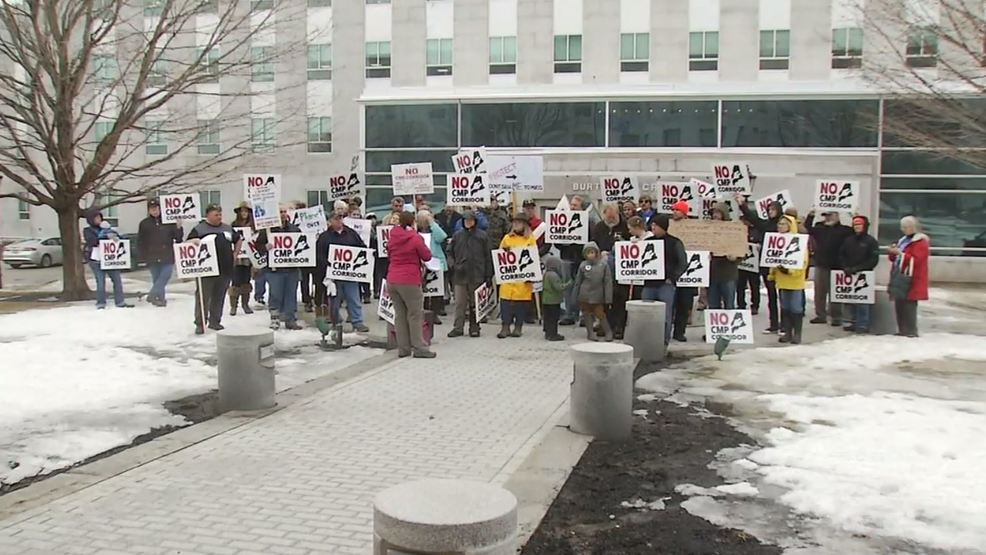Dozens gather in Augusta to protest CMP transmission line proposal