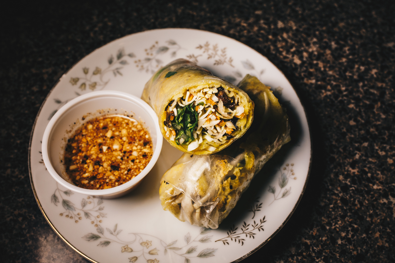 Veggie Ban Chao roll: onion, scallions, portobello mushroom, and cilantro rolled in rice flour crepes served with house made sweet and sour vinaigrette with roasted peanuts / Image: Catherine Viox // Published: 2.24.19