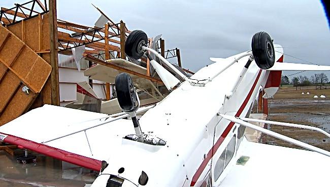 A small plane at Addison Municipal Airport in Winston County was flipped upside down during the storms in Alabama on Wednesday.