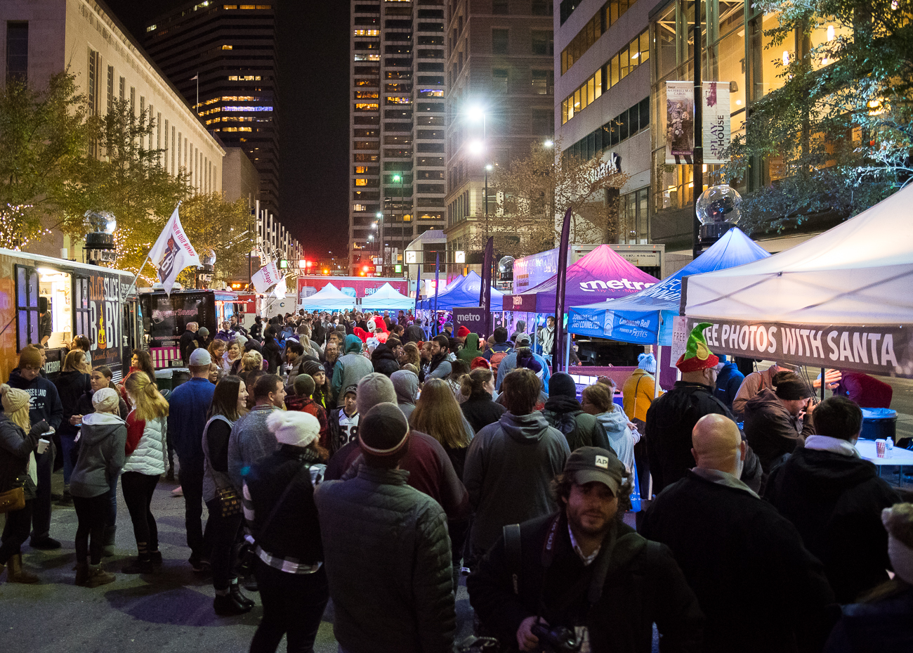 Food trucks lined either side of 5th Street. / Image: Phil Armstrong, Cincinnati Refined // Published: 11.24.18