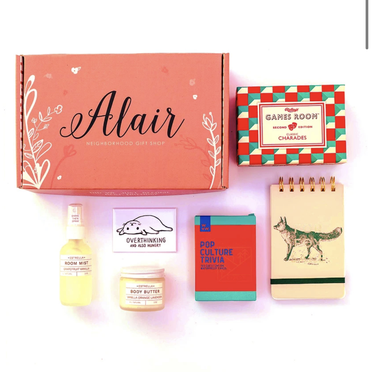 Opt for one of the several hand picked theme boxes from Alair Seattle, like{ }this quarantine box{ }for $60.{ } (Image: Alair Seattle){ }