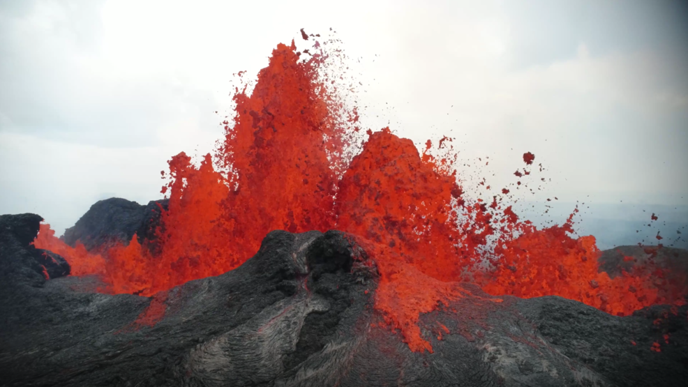 Inside the Storm: Giant lava eruption video at Kilauea shot from the top of a tree