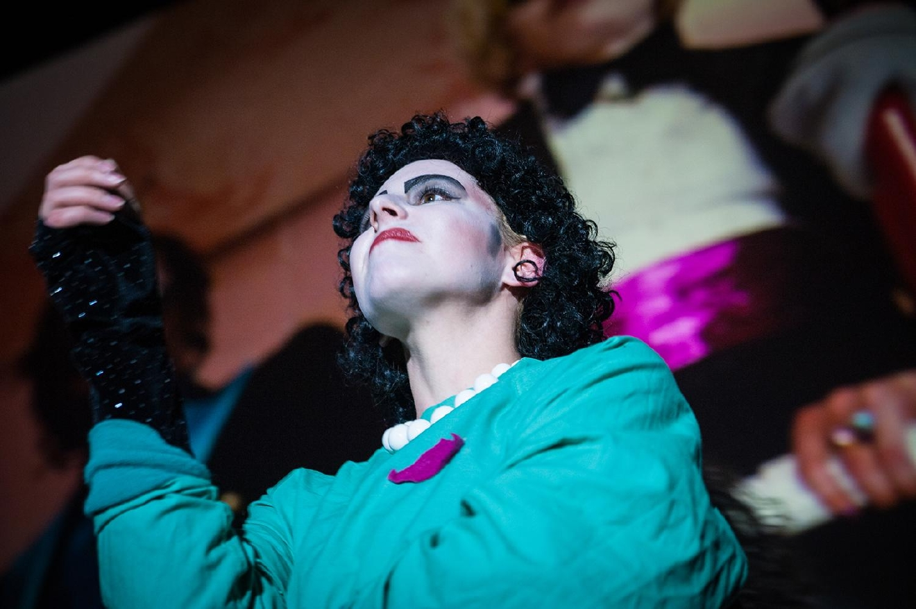 Dr. Frankenfurter, expounding upon his experiment to create the perfect human man. / Image: Melissa Doss Sliney