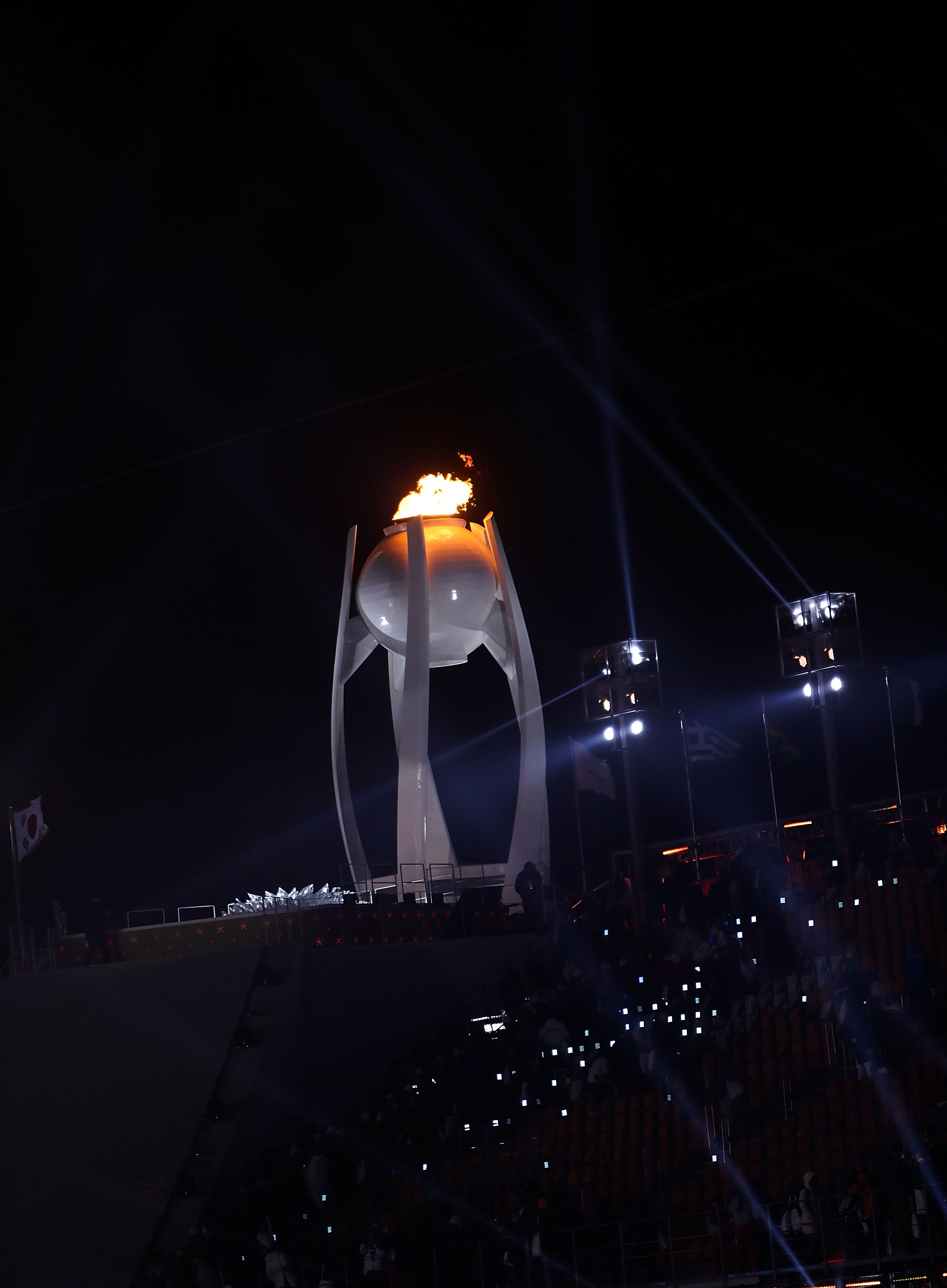 PYEONGCHANG-GUN, SOUTH KOREA - FEBRUARY 09: Olympic Cauldron is lit during the Opening Ceremony of the PyeongChang 2018 Winter Olympic Games at PyeongChang Olympic Stadium on February 9, 2018 in Pyeongchang-gun, South Korea.   fee liable image, copyright © ATP  Amin JAMALI  XXIII. OLYMPIC WINTER GAMES PYEONGCHANG 2018: OPENING CEREMONY,  PyeongChang, Korea, Winter Olympics; PyeongChang Olympic Stadium, on 9. February 2018, fee liable image, copyright © ATP / Amin JAMALI  Featuring: Olympic Cauldron Where: Pyeongchang, Gangwon Province, South Korea When: 09 Feb 2018 Credit: ATP/WENN.com  **Not available for publication in Germany or France. No Contact Music.**