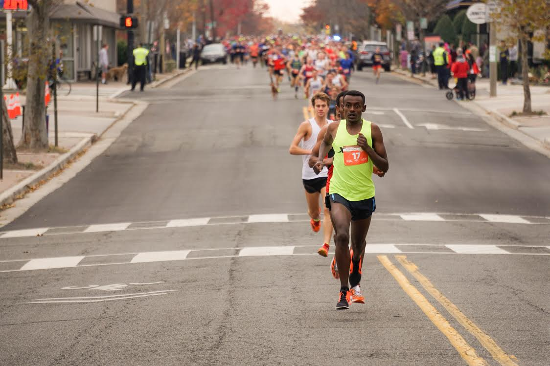 Whether you're coming in first or taking a brisk Thanksgiving morning jog, give thanks for the opportunity to move your body in a healthy way. (Photo credit Brian Danza, DC Road Runners, Alexandria Turkey Trot)<p></p>