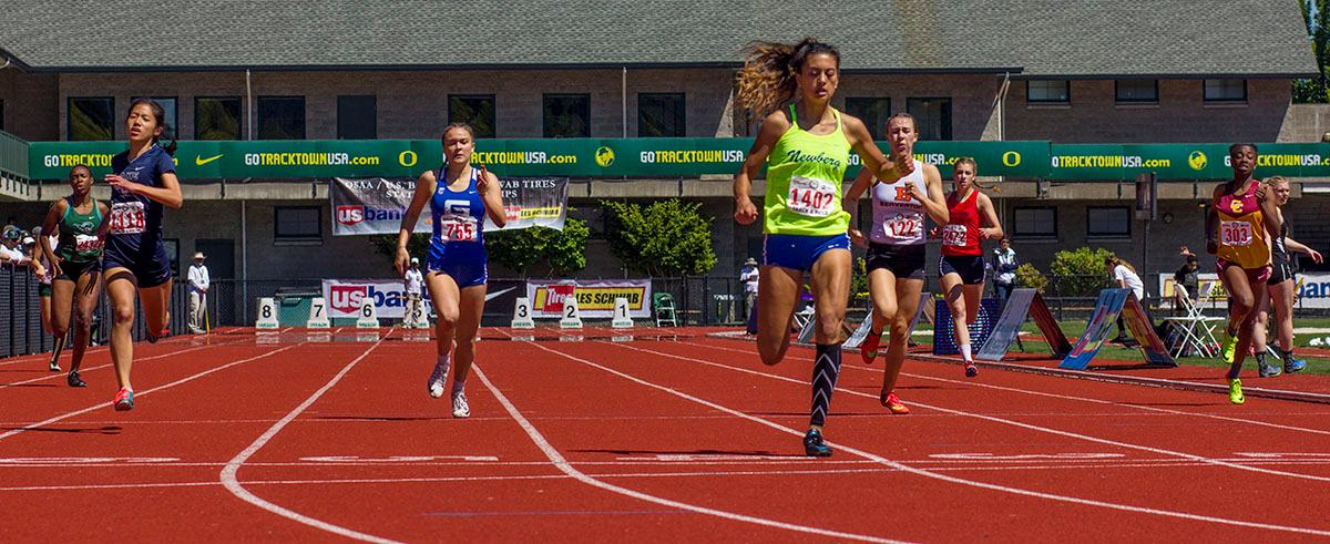 Madison Hergert of Newberg High School wins the 6A Girls 400 Meter Dash with a time of 57.32 on Friday in the 2017 OSAA State Track and Field Championsips at Hayward Field. Photo by: Stephanie Cusano, Oregon News Lab