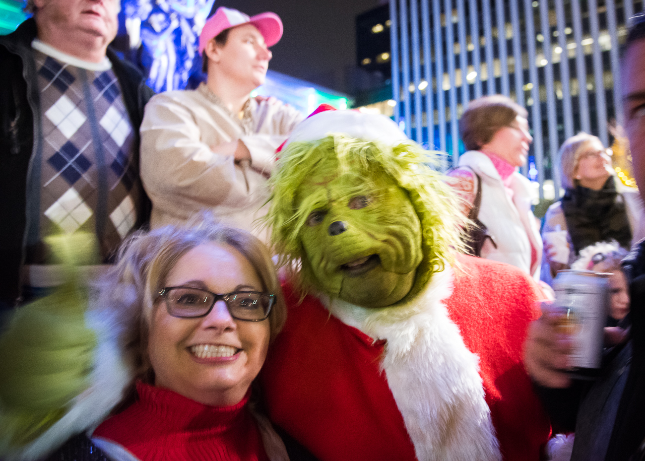 This man went full Grinch at Fountain Square's Christmas tree lighting. / Image: Phil Armstrong, Cincinnati Refined // Published: 11.30.18