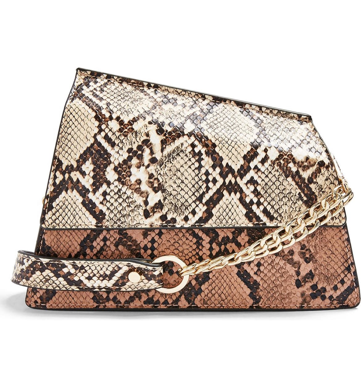 This faux-leather shoulder bag is fierce to the max with its two-tone snakeskin detailing, asymmetrical shape and chain-accent strap. $40 (Image: Nordstrom){ }