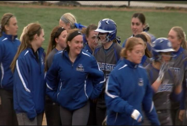 Cassie Burris is swarmed by teammates after her walk-off game winning....run down?{&amp;nbsp;}<p></p>