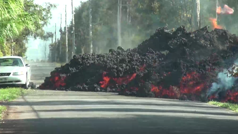 Inside the Storm: Time-lapse of giant lava flow consuming a car in Hawaii