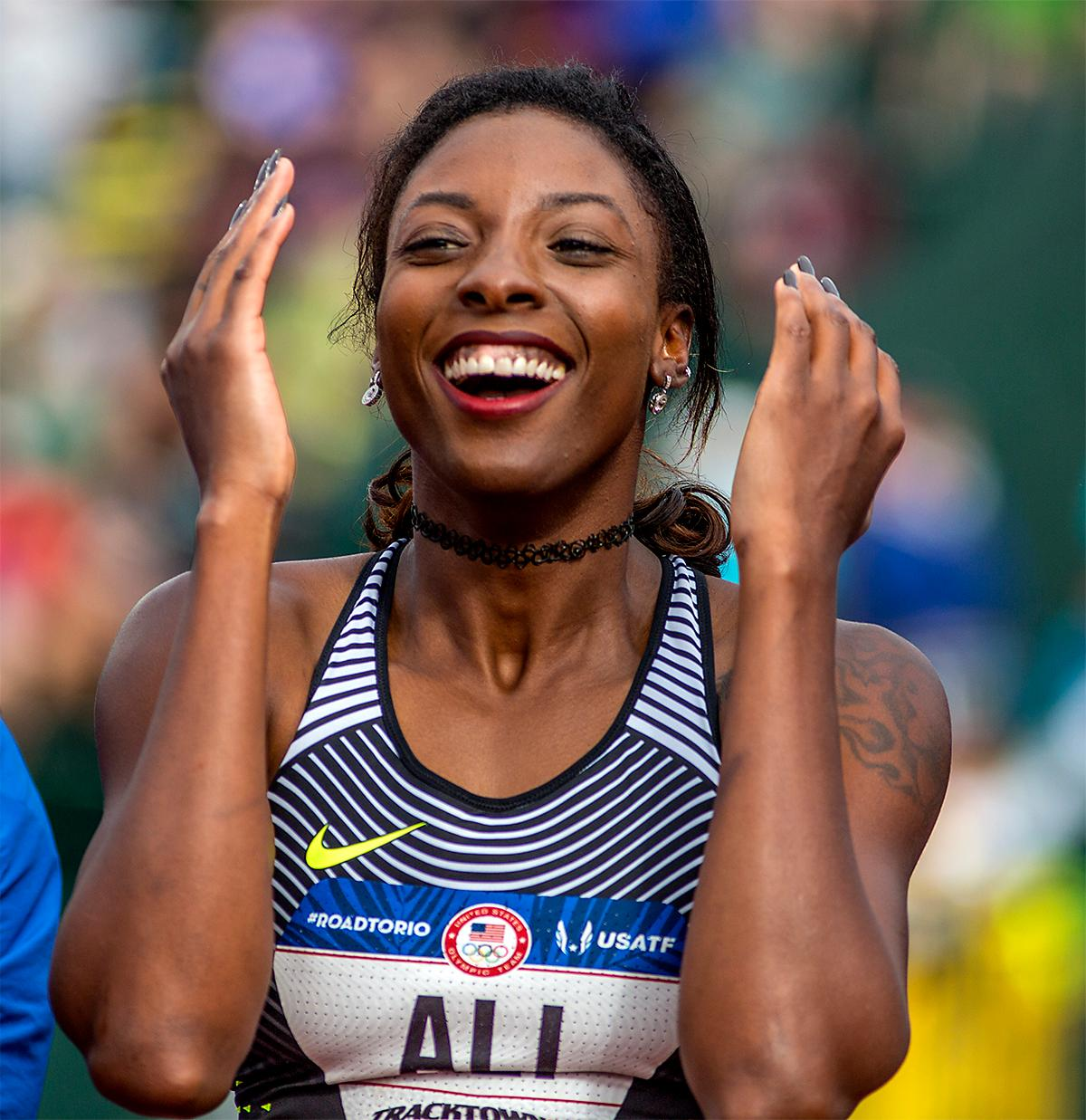 Nike's Nia Ali is overjoyed after taking third in the 100 meter hurdles in a time of 12.55 and punching her ticket for Rio. Photo by August Frank, Oregon News Lab