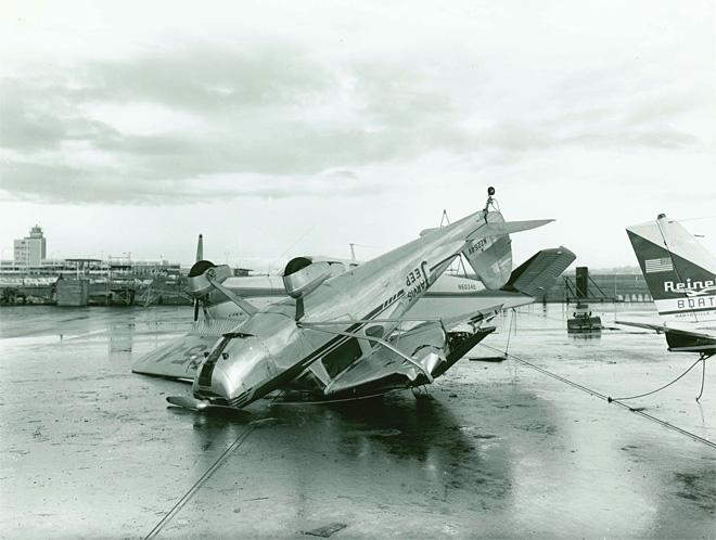 Airplane wreckage at Portland's Airport<p></p>