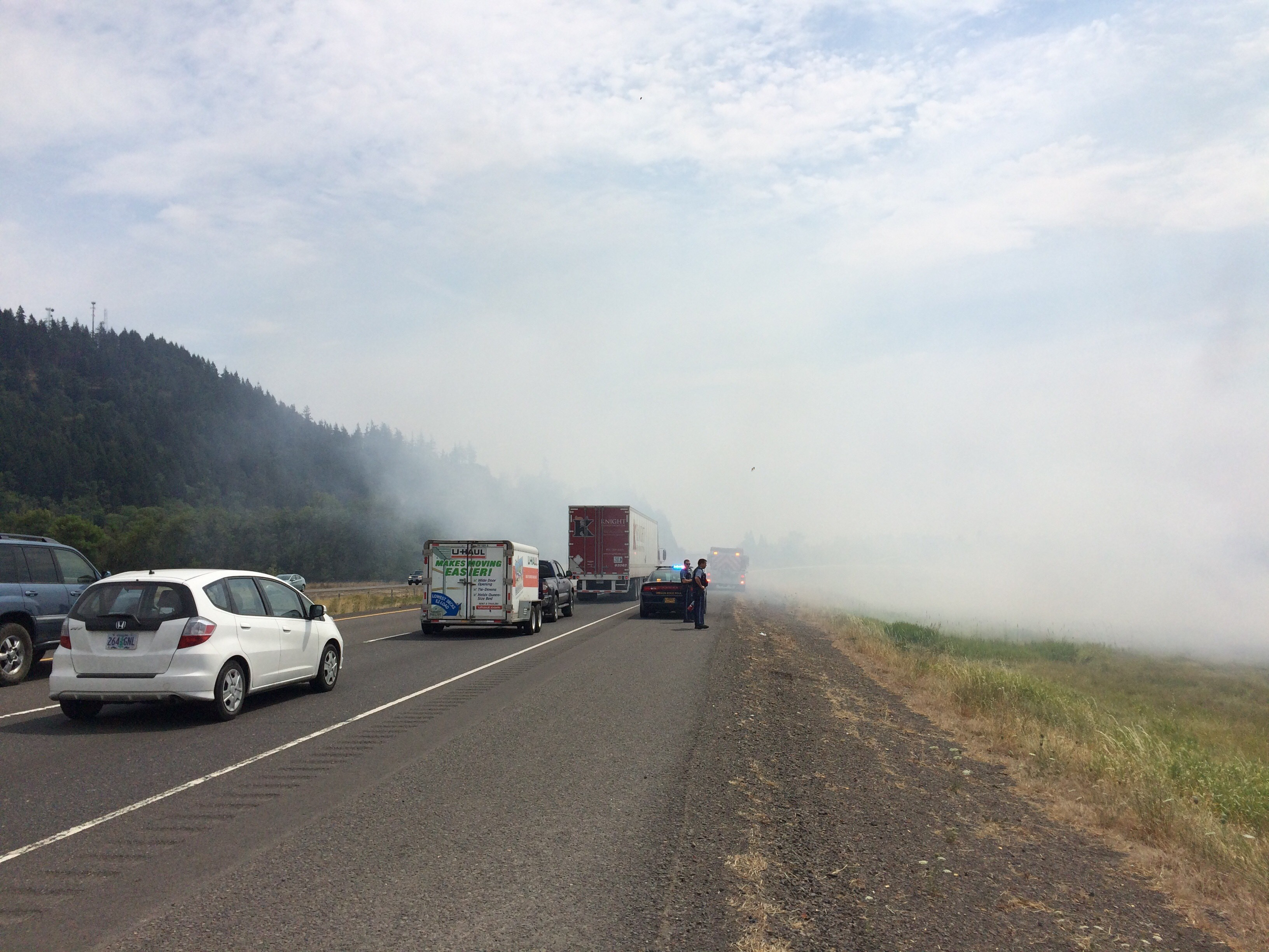 Coburg fire officials say a brush fire is to blame for smoke I-5 travelers are encountering, August 6, 2017. (SBG)
