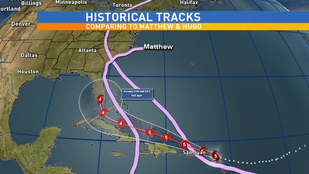 Hugo vs Irma vs Matthew Historical tracks  WCIV