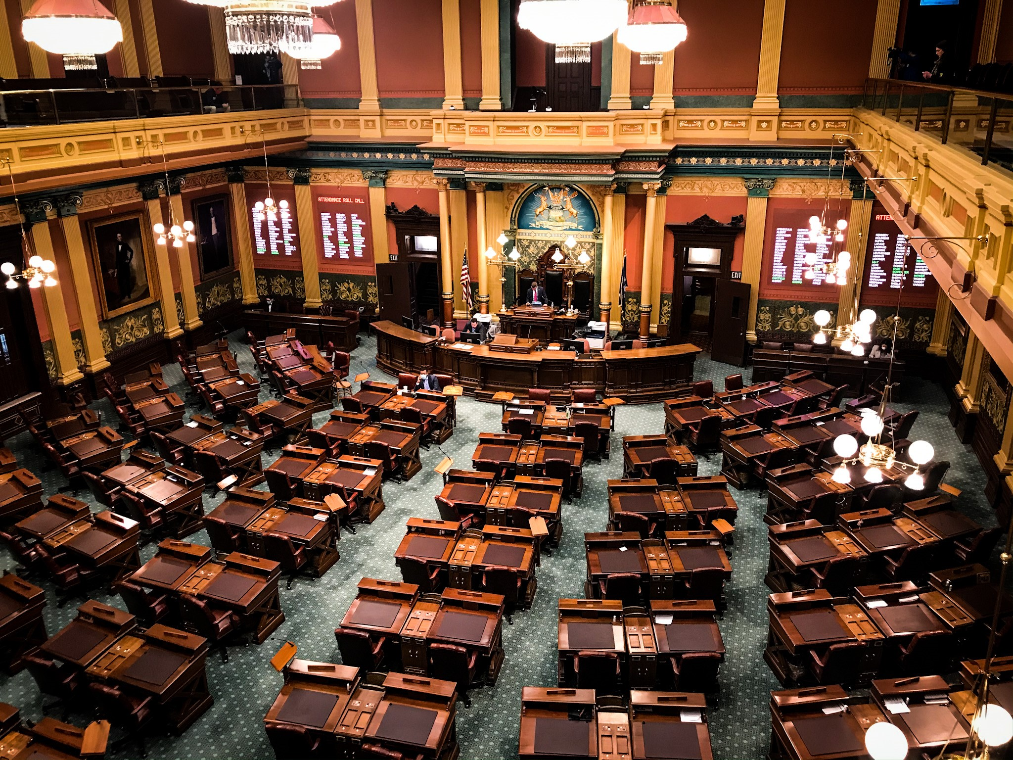 The Michigan House chamber sits nearly empty Tuesday, April 7, 2020, under Gov. Gretchen Whitmer's stay-at-home order. (SBG/Mikenzie Frost)