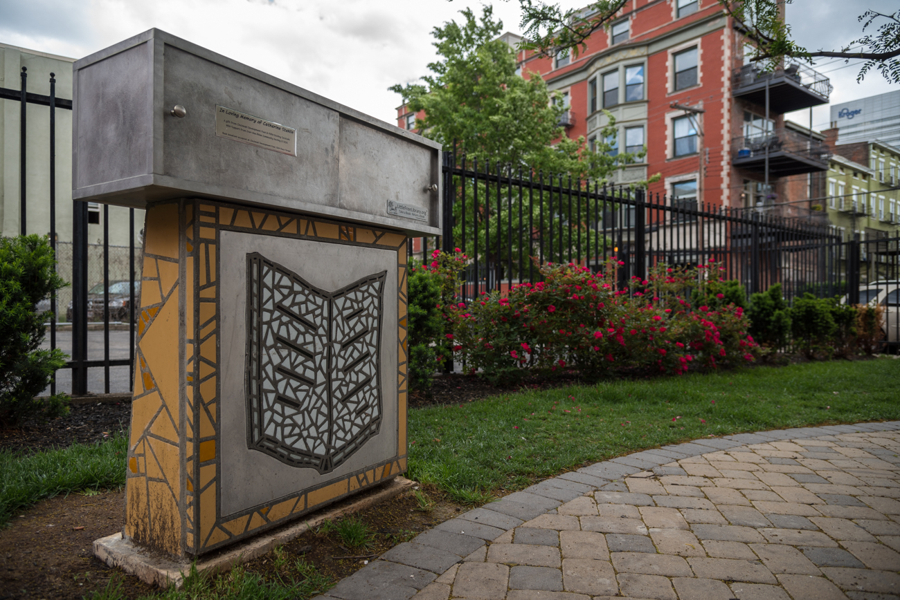 LOCATION: Corner of 13th and Republic Streets in Over-the-Rhine / ADDRESS: 1300 Republic Street (45202) / FUN FACT: This little library is dedicated to the memory of Catherine Stehlin, former resident and lover of the neighborhood. / IMAGE: Phil Armstrong, Cincinnati Refined // PUBLISHED: 5.3.17