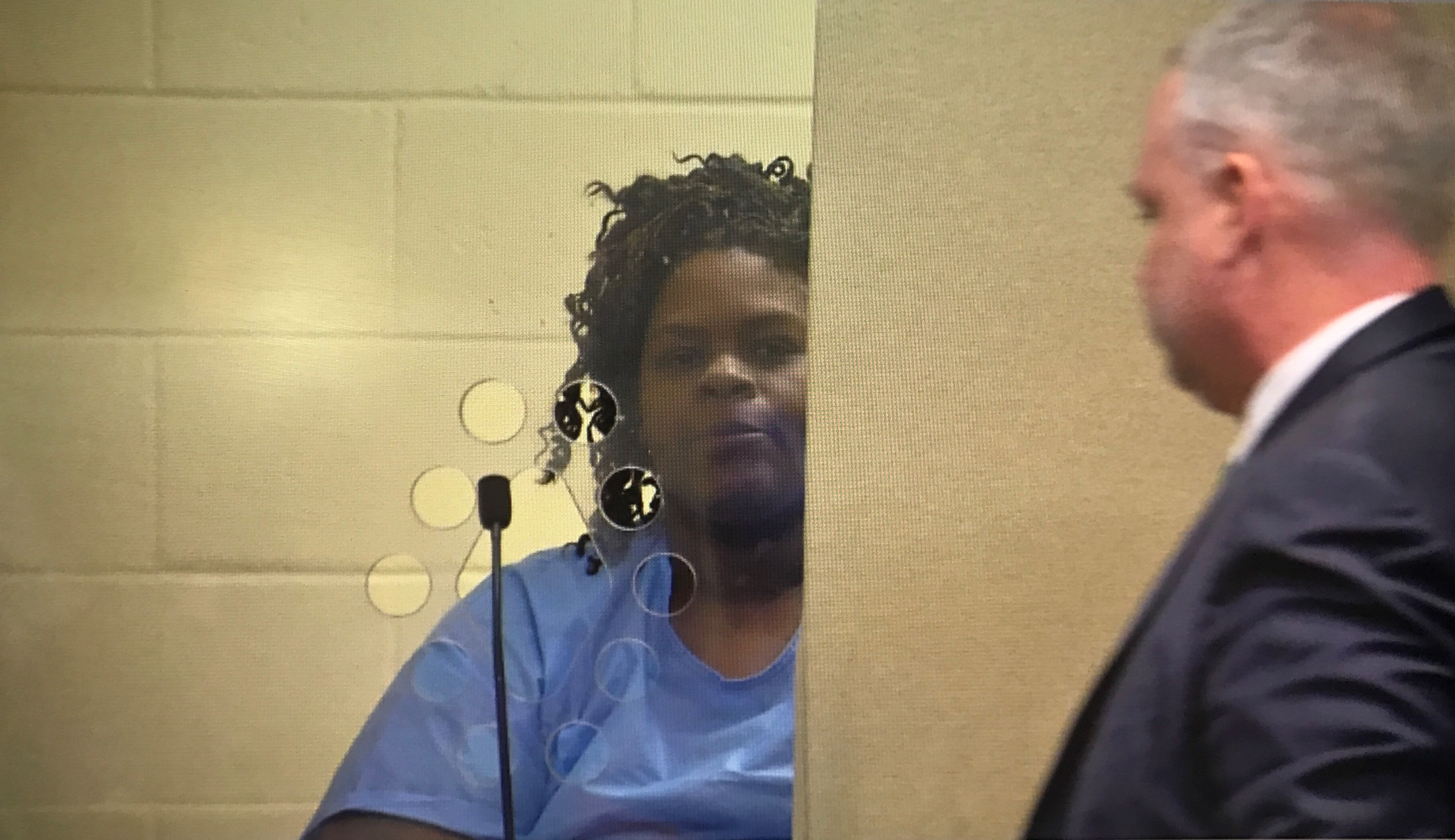 Latarsha Sanders is arraigned in Brockton District Court, Tuesday, Feb. 6, 2018, on two counts of murder in the killing of her young sons. (WJAR)