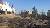 Driver cited for going off road, sparking wildfire; vehicle destroyed by flames