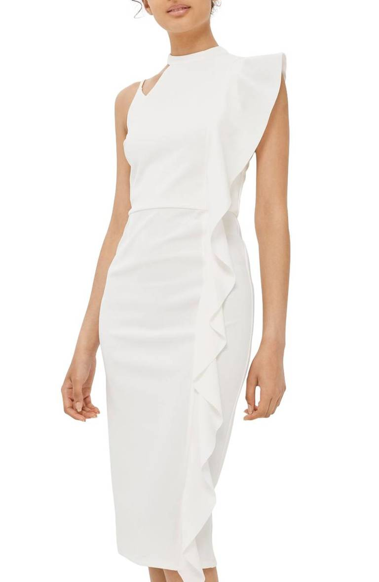 Topshop Asymmetrical Ruffle Midi Dress, $95, Nordstrom.com (Image: Courtesy Nordstrom)
