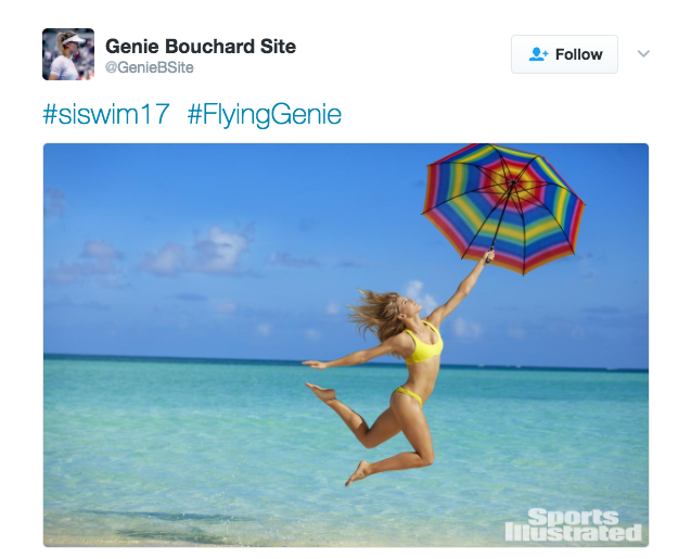 @GenieBSite tweets a photo from Genie Bouchard's Sports Illustrated Swimsuit Issue shoot.