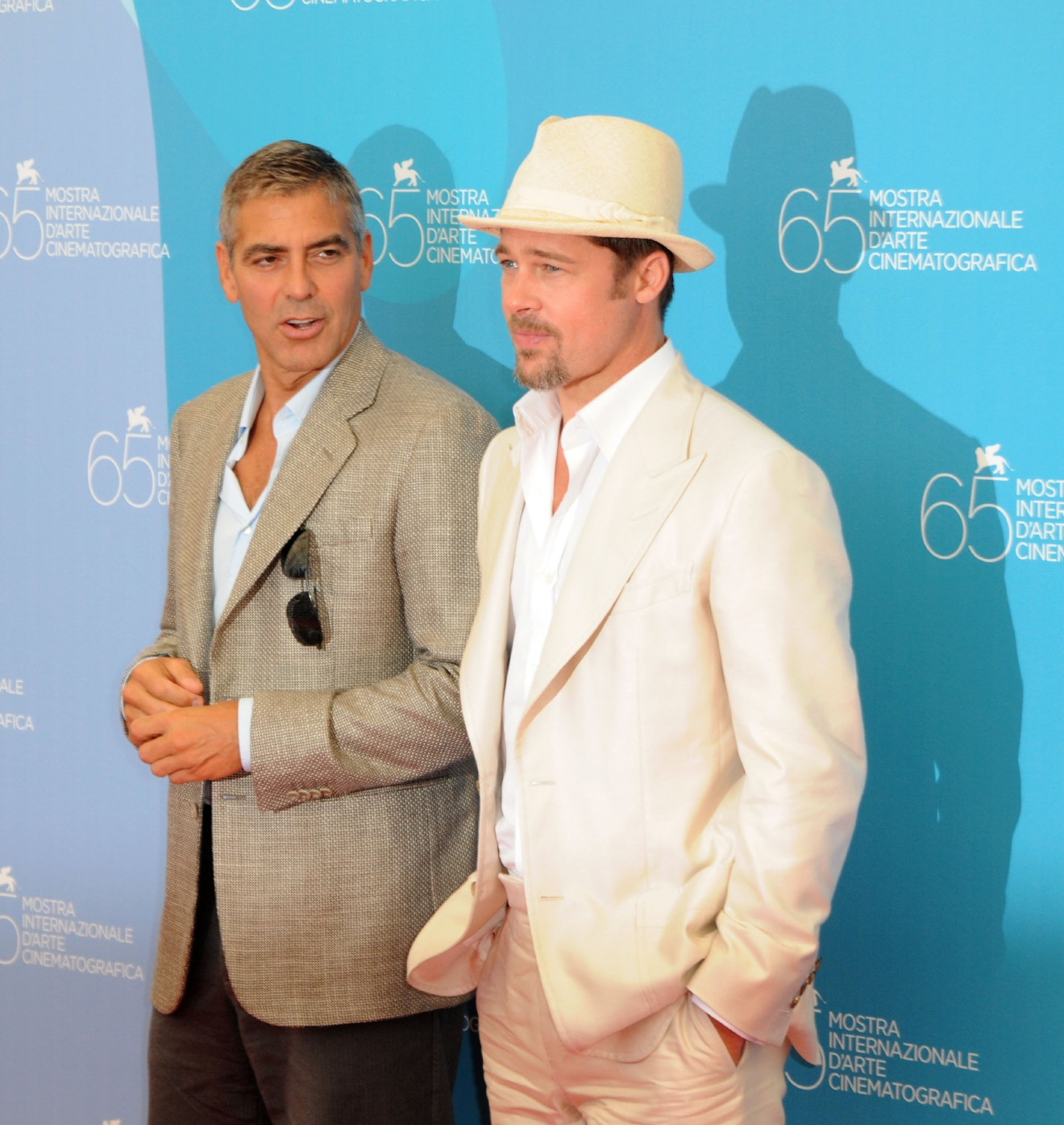 George Clooney and Brad Pitt                  65th Venice Film Festival - Day 1 - 'Burn After Reading' photocall                                    Featuring: George Clooney and Brad Pitt                  Where: Venice, Italy                  When: 27 Aug 2008                  Credit: WENN