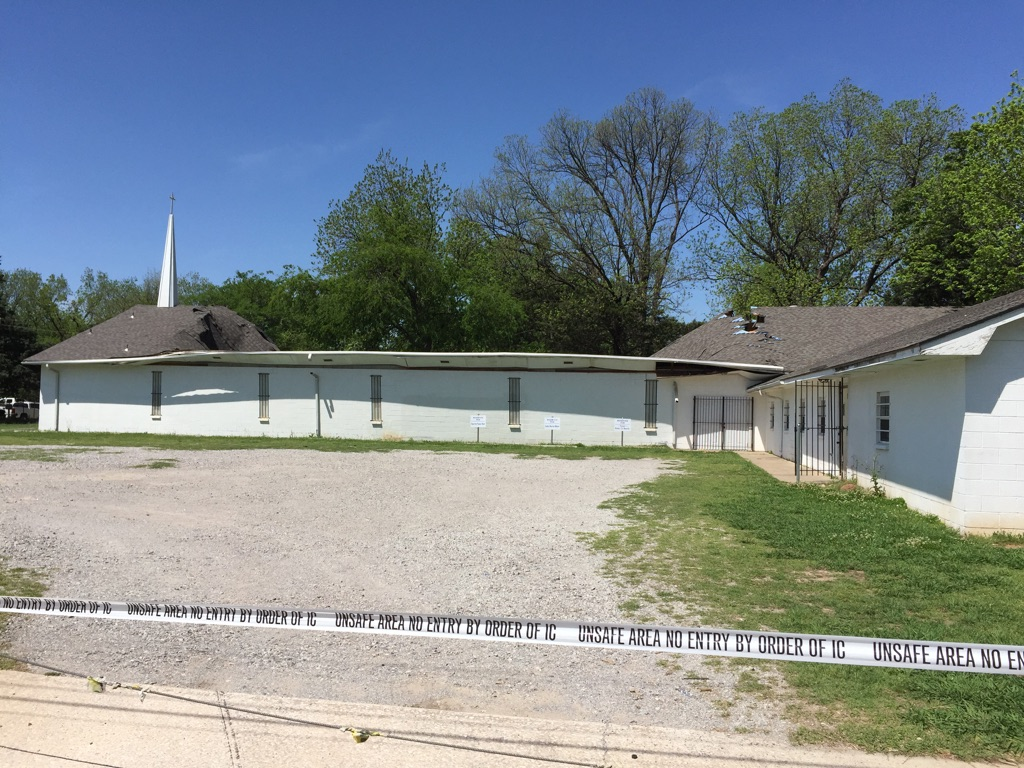 The roof of a vacant metro church collapsed April 18. (KOKH/MATT COON)