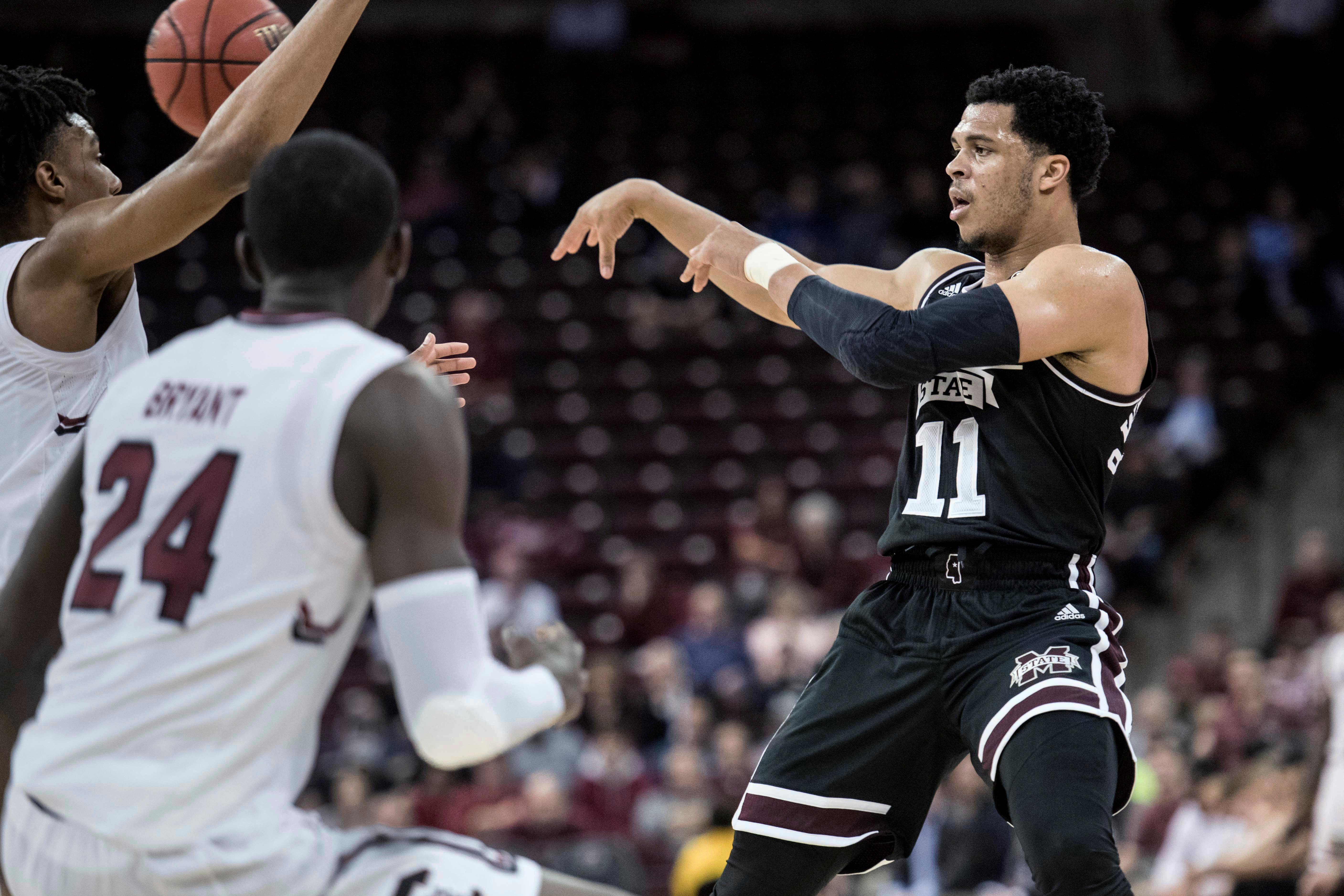 Mississippi State guard Quinndary Weatherspoon (11) passes the ball during the second half of the team's NCAA college basketball game against South Carolina on Tuesday, Jan. 8, 2019, in Columbia, S.C. South Carolina won 87-82. (AP Photo/Sean Rayford)