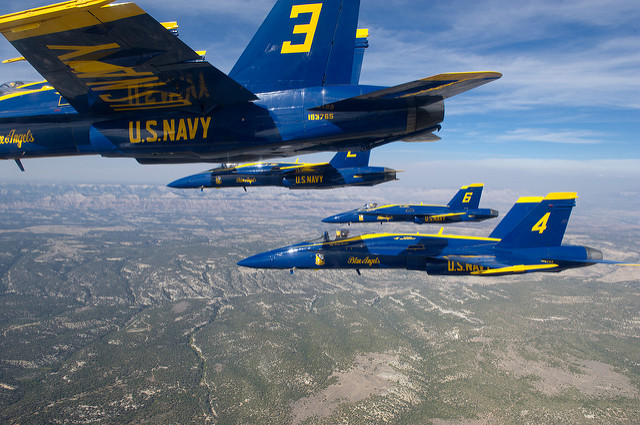 (Sept. 19, 2012) F/A-18 Hornets assigned to the U.S. Navy Flight Demonstration Squadron, the Blue Angels, fly in formation during a transit flight to Grand Junction, Colo. The Blue Angels maintain a six-aircraft delta formation during all transit flights. (U.S. Navy photo by Mass Communication Specialist 2nd Class Andrew Johnson/Released)