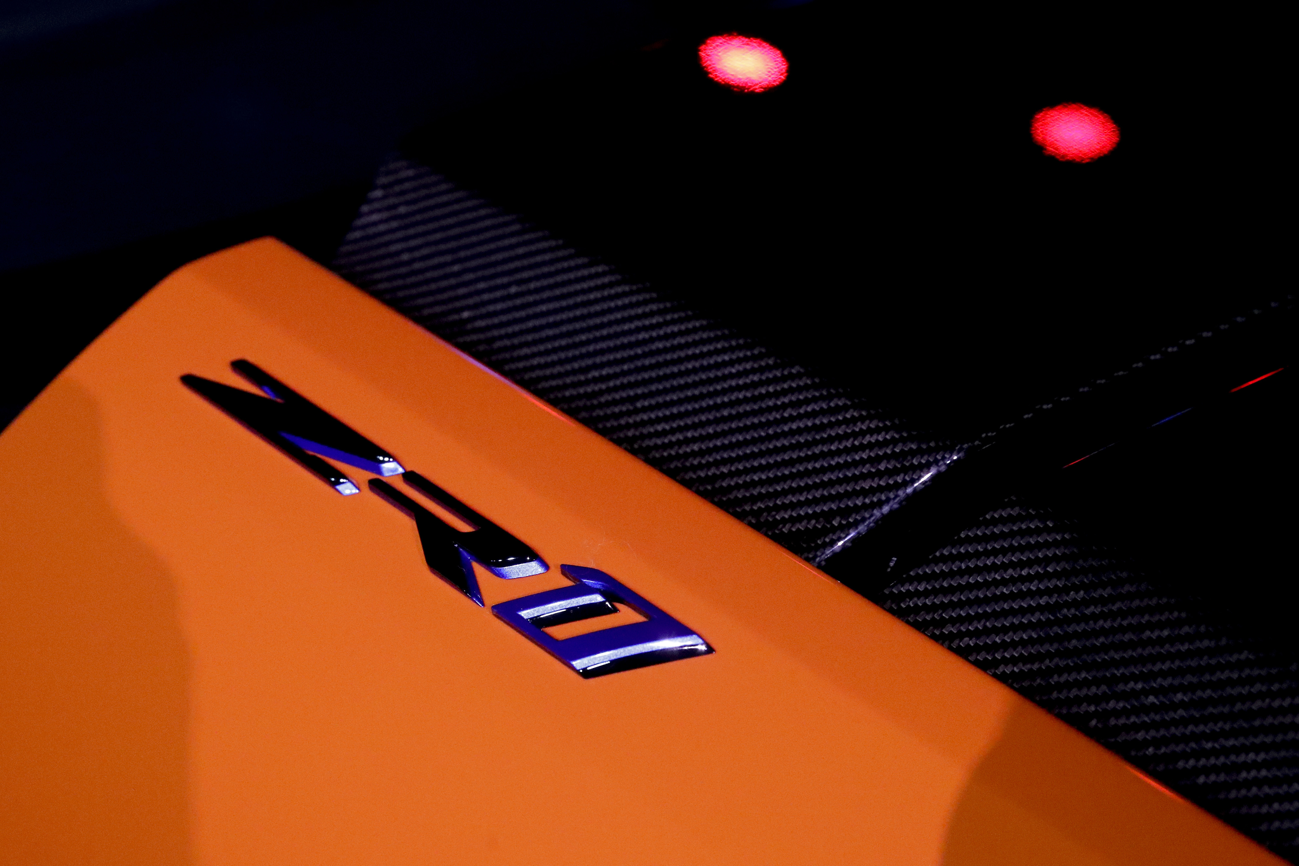 The 2019 Chevrolet Corvette ZR1 convertible logo is shown during the AutoMobility LA auto show Tuesday, Nov. 28, 2017, in Los Angeles. (AP Photo/Chris Carlson)