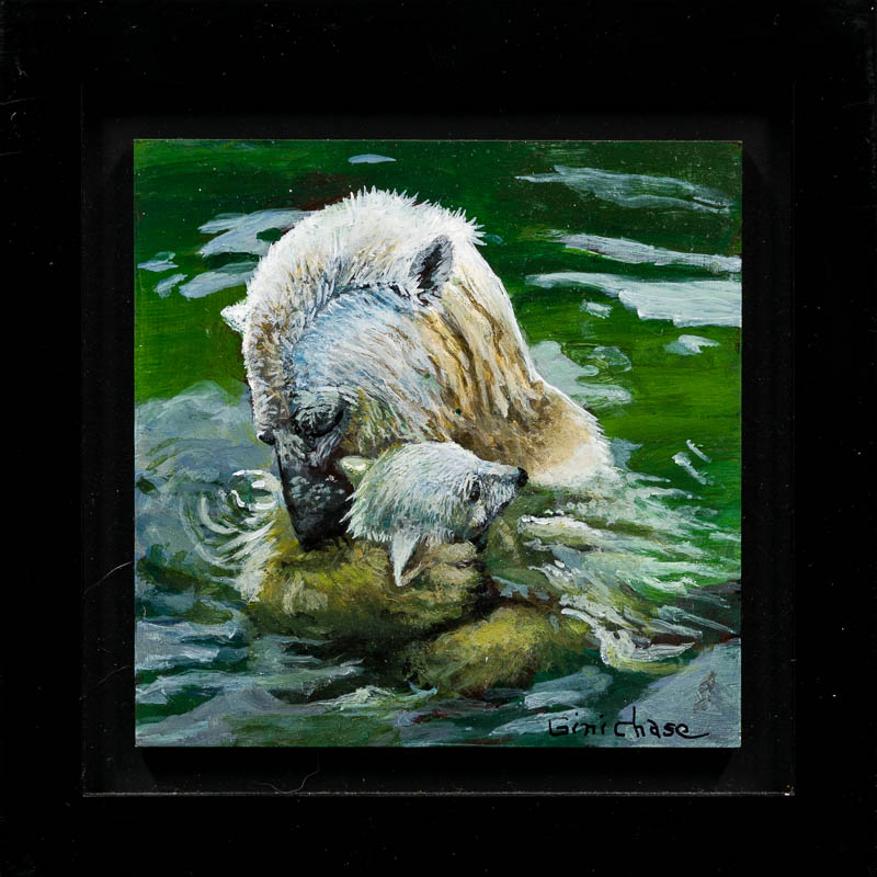 Mothers Hug by Artist Gini Chase.  Photo by Larey McDaniel.{ }The Parklane Gallery Annual International Miniature Show in Kirkland features around 400 amazing works of art. Each is 5 x 5 or smaller.