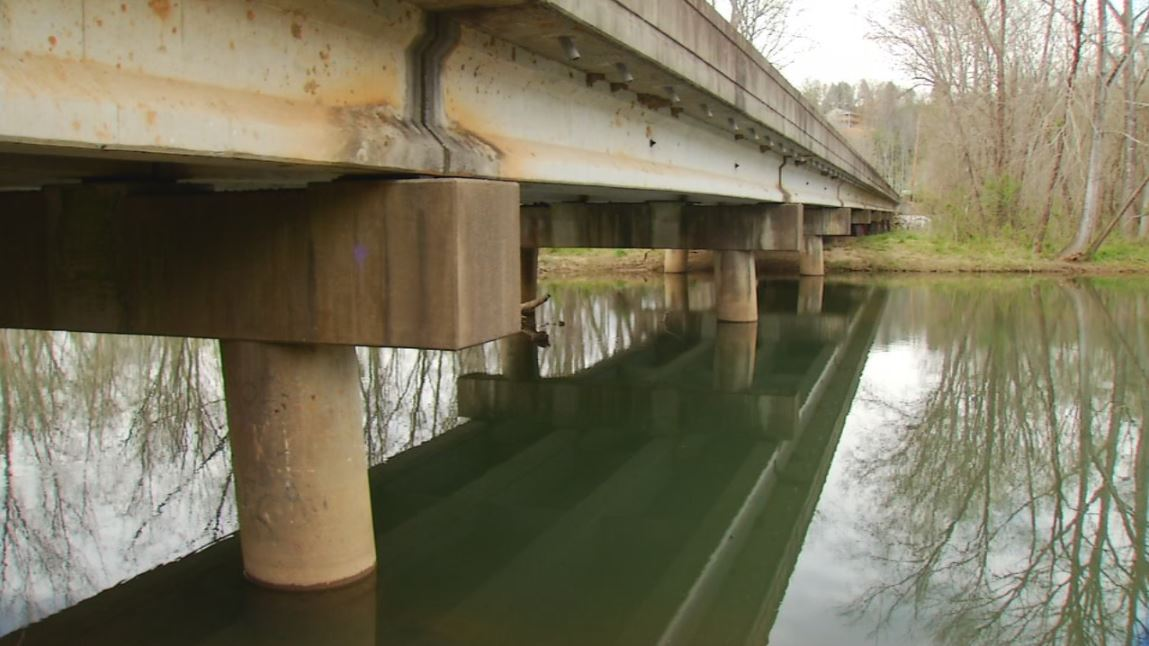 FILE - Yancey Bridge along the Catawba River, where a dog was found dead inside a backpack on March 28, 2018. (Photo credit: WLOS Staff)