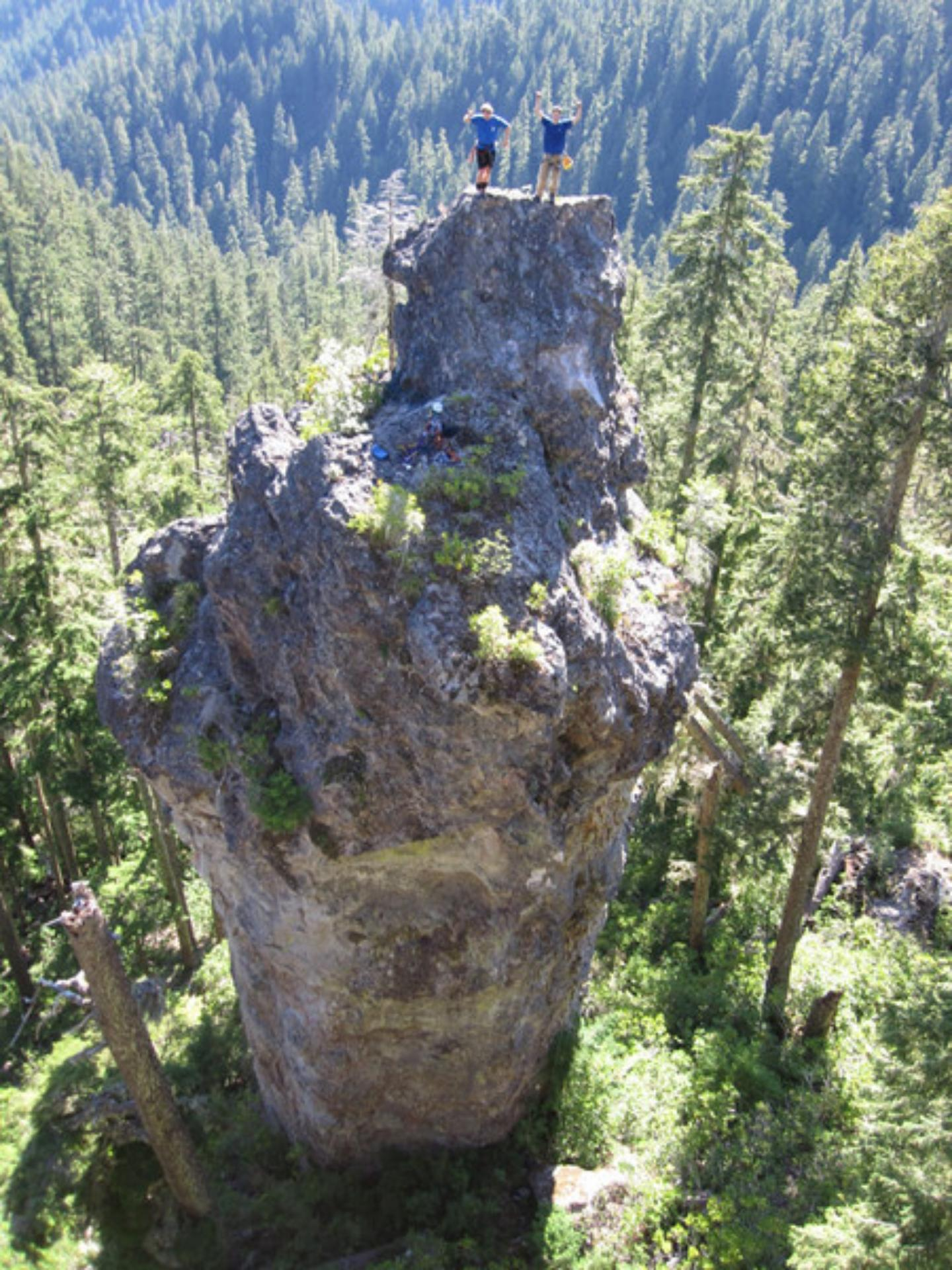 Climbers on Rooster Rock (USDA Forest Service)