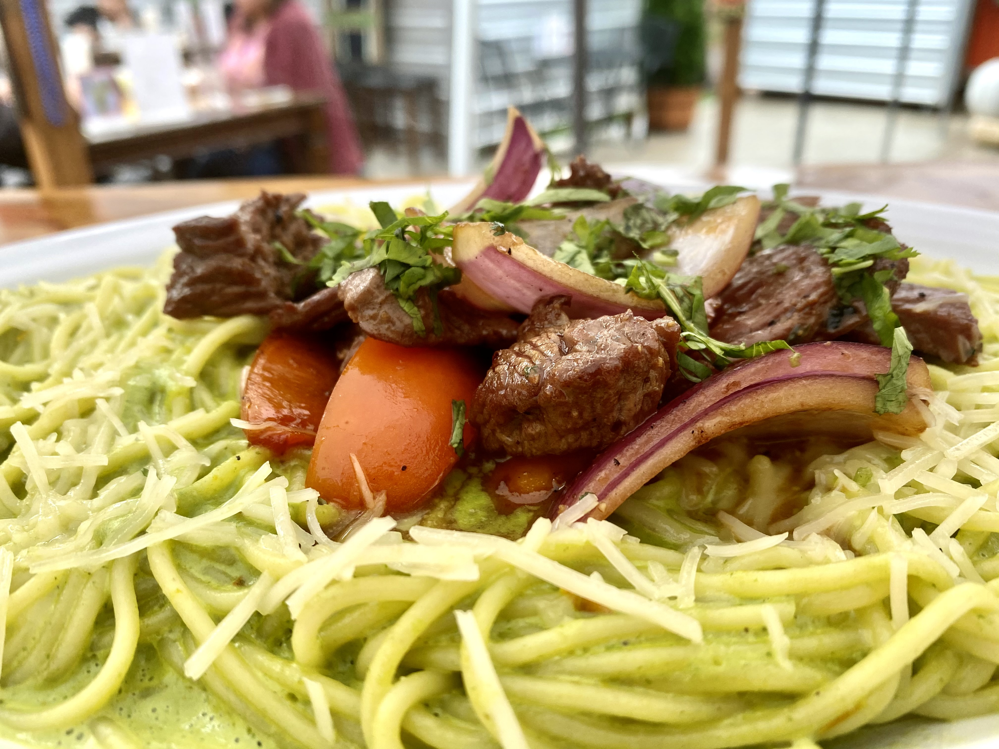 Basil and Spinach Pasta with Lomo (Image: Karen Rose / Seattle Refined)