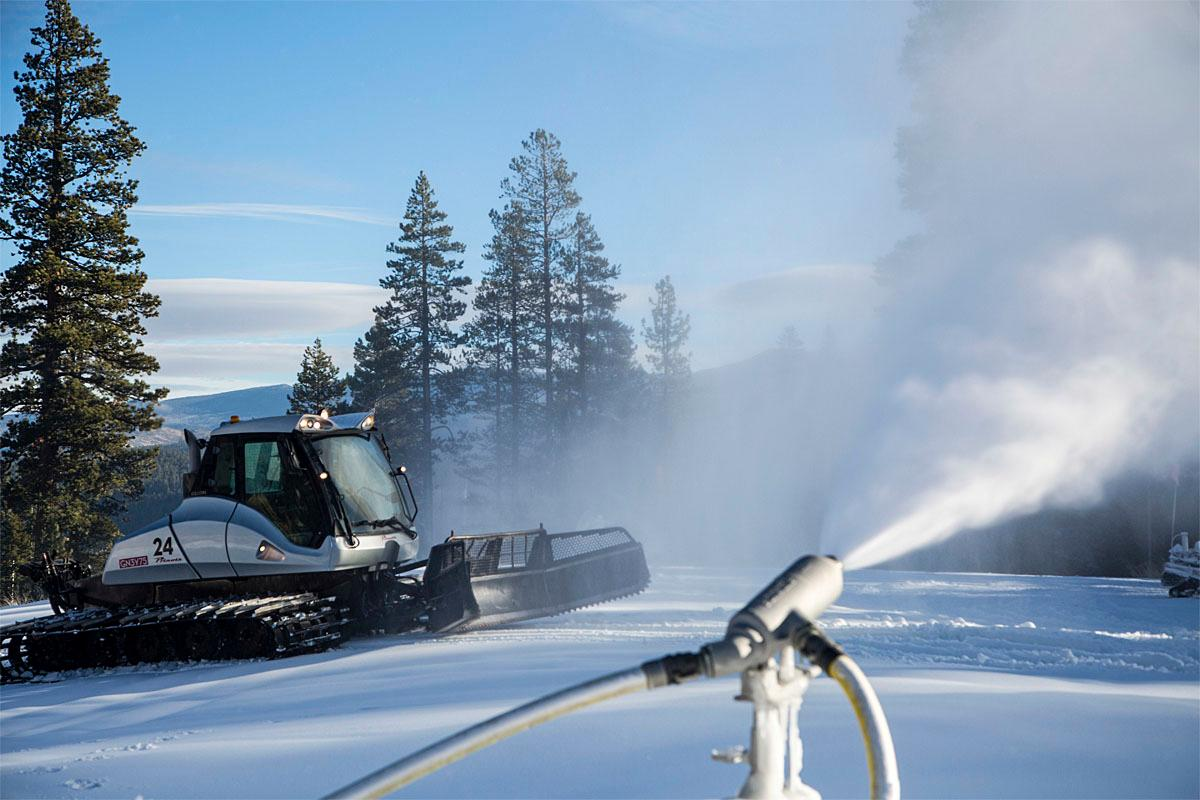 In this photo provided by the Northstar California Resort, snow guns work at Northstar California as temperatures drop Friday, Nov. 18, 2016, in Truckee, Calif. The resort is preparing for its opening day next week on Nov. 23. (Northstar California Resort via AP)