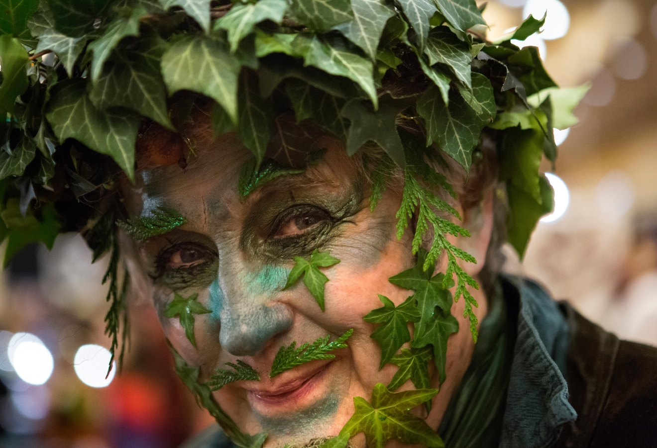 Oregon resident Billy Scudder dresses as The Green Man, which he says is a symbol of spring, at Mythicworlds Convention and Masquerades. Scudder has been dressing in the same style costume since 1974. (Sy Bean / Seattle Refined)