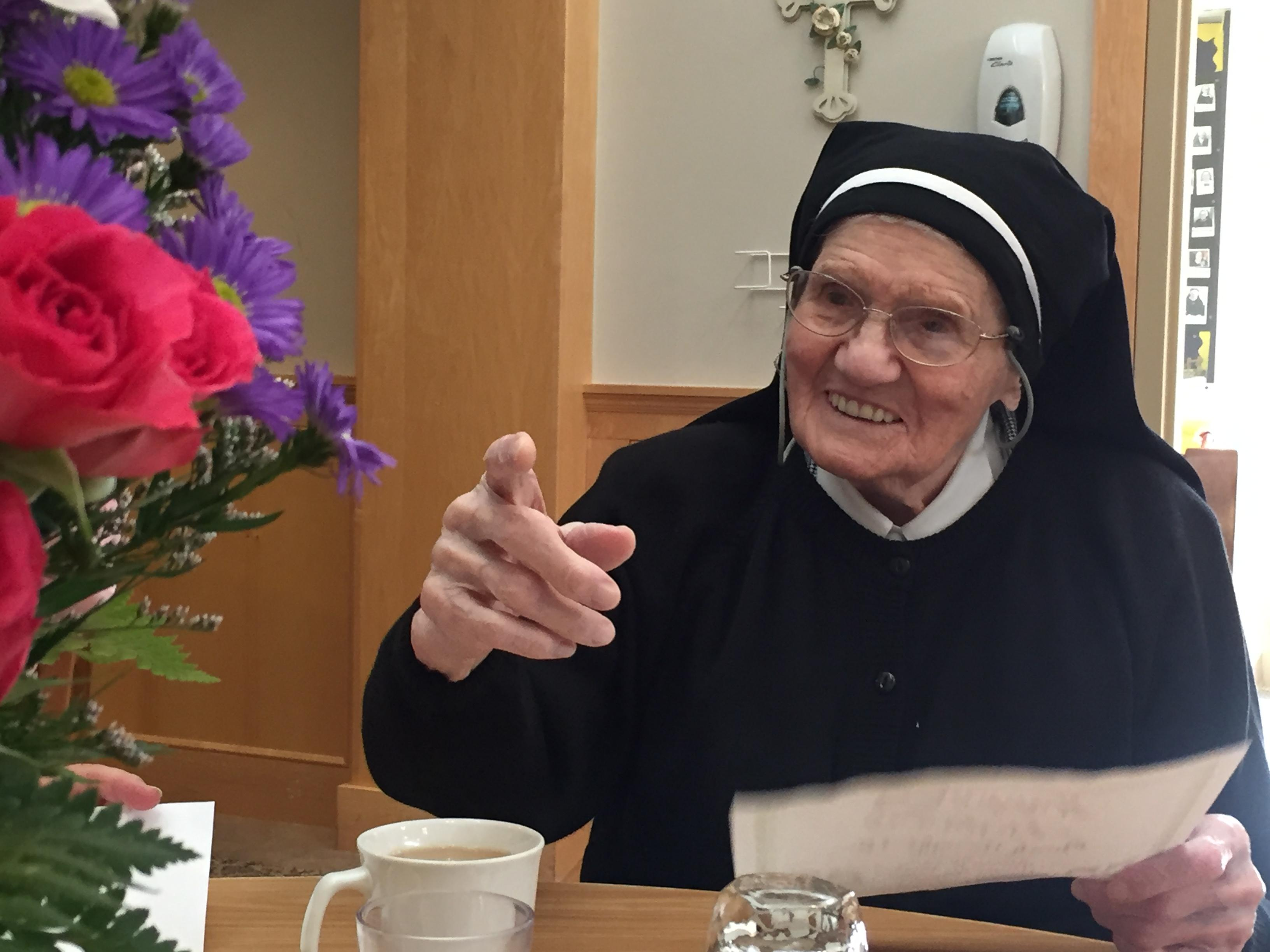 Sister Mary Urban Harrer celebrates her 105th birthday at SSM Franciscan Courts in Oshkosh, March 2, 2018. (WLUK)