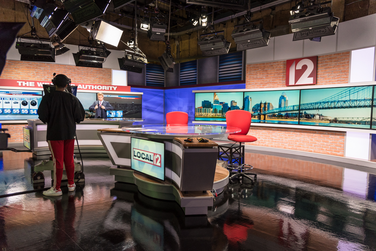 BEHIND THE SCENES: Local 12's first official broadcast from its new studio aired at the 4:00 PM news hour on Wednesday, Sept. 28, 2016. Brad Johansen and Cammy Dierking anchored the broadcast with support from meteorologist Scott Dimmich and reporters Jeff Hirsh and Liz Bonis. /  Image: Phil Armstrong, Cincinnati Refined