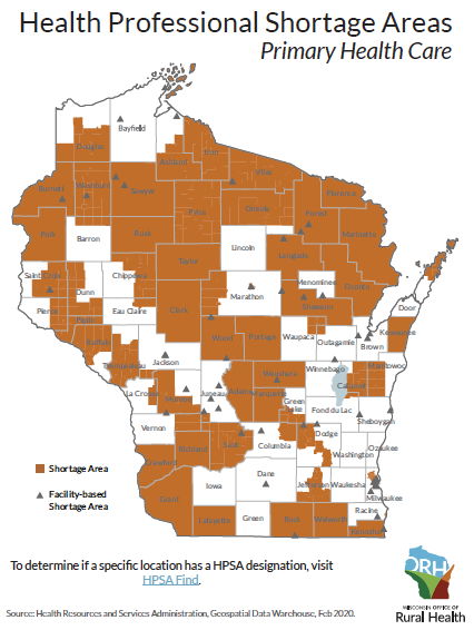 The orange areas are considered shortage areas for primary health care.<p></p>