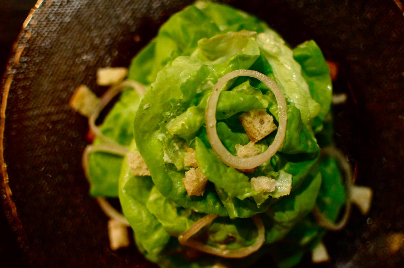 Limestone Lettuce Salad with green goddess dressing, shallot, fines herbes, and micro crouton / Image: Leah Zipperstein, Cincinnati Refined / Published: 12.29.16