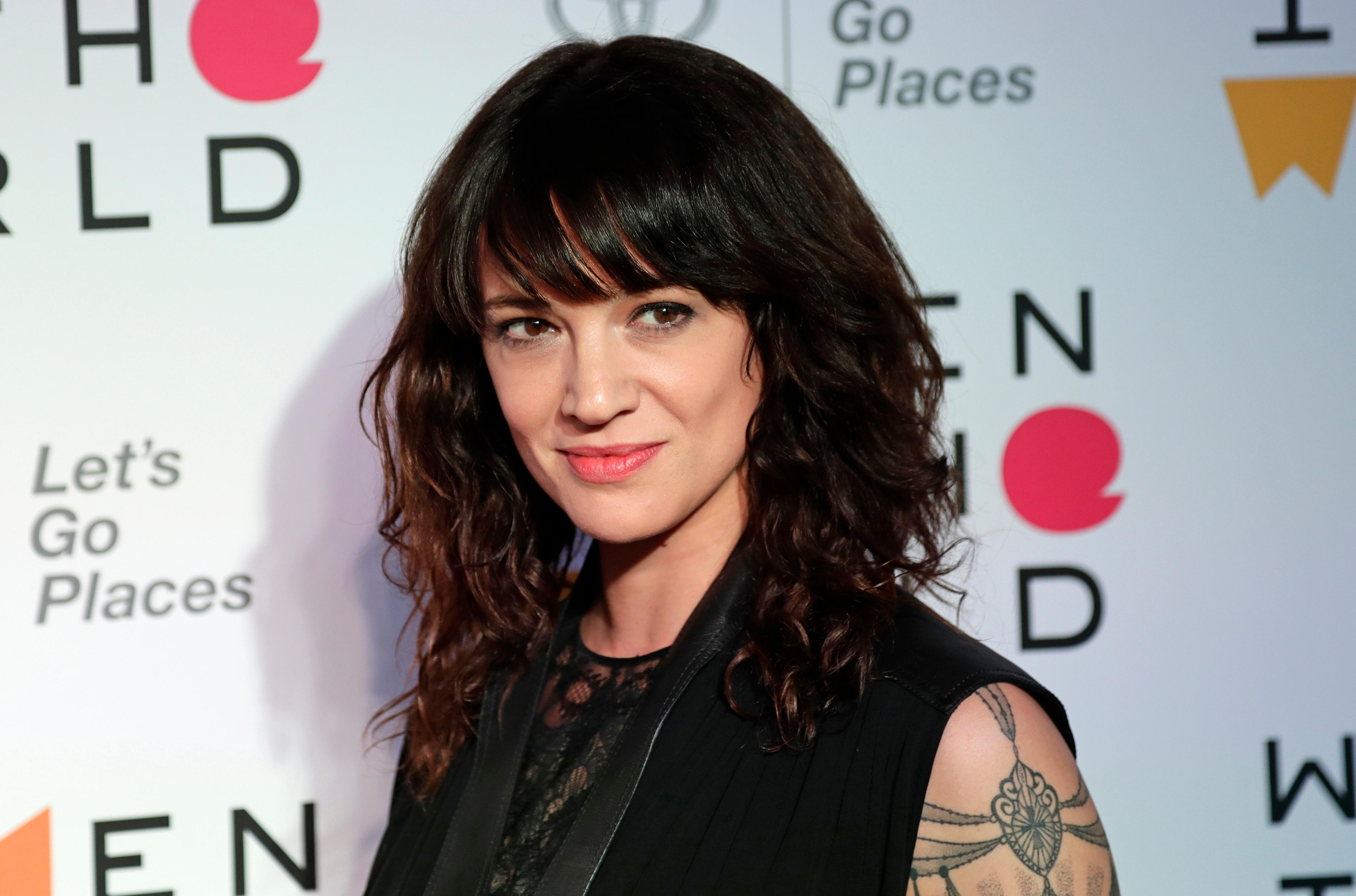 FILE - In this April 12, 2018 file photo, Italian actress and director Asia Argento arrives at the ninth annual Women in the World Summit in New York. (AP Photo/Frank Franklin II, File)